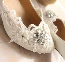 Lace Bridal Shoes,Floral Lace Bridal Shoes,Bridesmaids Shoes,Wedding Heels - $48.00