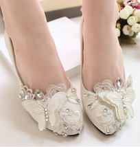 Lace butterfly Bridal Shoes,Floral Lace Bridal Shoes,White Bridesmaids S... - £38.61 GBP