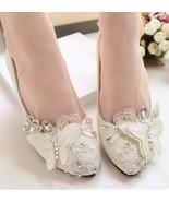 Lace butterfly Bridal Shoes,Floral Lace Bridal Shoes,White Bridesmaids S... - $48.00