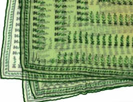Vtg Vera Neumann Ladybug Logo Silk Blend Green Square Scarve Verasheer J... - $34.16