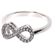 Sterling Silver Ring size 8 CZ Round cut Infinity Engagement Wedding New 925 v60 - $11.63