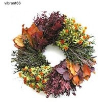 Boxwood Fall Flower Wreath Home Harvest Thanksgiving Door Decorate Wreat... - $75.46