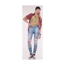 Grunge Leggings Blue Jeans Rock Rose SKELETON Adult Costume WITH BELT Wo... - $12.86