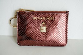 90c2dfaf834f03 NWT MICHAEL KORS ADELE COINPOUCH ID KEY RING CARD HOLDER LEATHER METALLI...  -