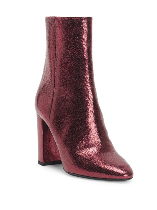 Saint Laurent Loulou Metallic Leather Booties 37 MSRP: $1,095.00