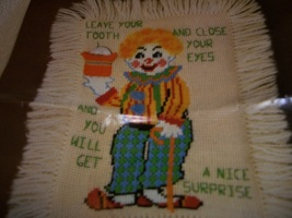 Clown Toothfairy Pillow Needlepoint Kit: Comes with Fabric, Yarn, Needle... - $55.00