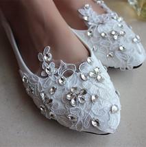 Wedding Shoes, Lace Bridal Shoes, Flat Lace Bridal Shoes, Pearl Bridal Shoes - $48.00