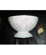 CORELLE SHADOW IRIS COLANDER NEW WITH TAG HARD TO FIND PORCELAIN ENAMEL ... - $44.54