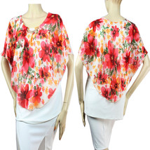 Pancho Style Flower Chiffon BLOUSE Ruched Necklace,Lining  Missy Cute Top Plus - $23.99