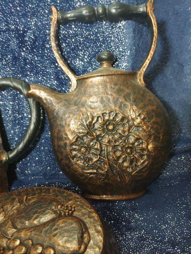 1972 HOMCO Home Interior Syroco Wall Plaques Fry Pan Coffee Pot Tea Pot 7282 83