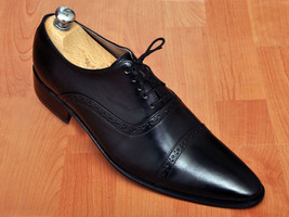 Handmade men's Oxford black dress leather shoes, Mens black laceup leather shoes - $159.99