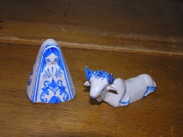 Lot of 2 Small Blue & White Painted Clay Religious Woman & Steer or Cow ... - $7.69