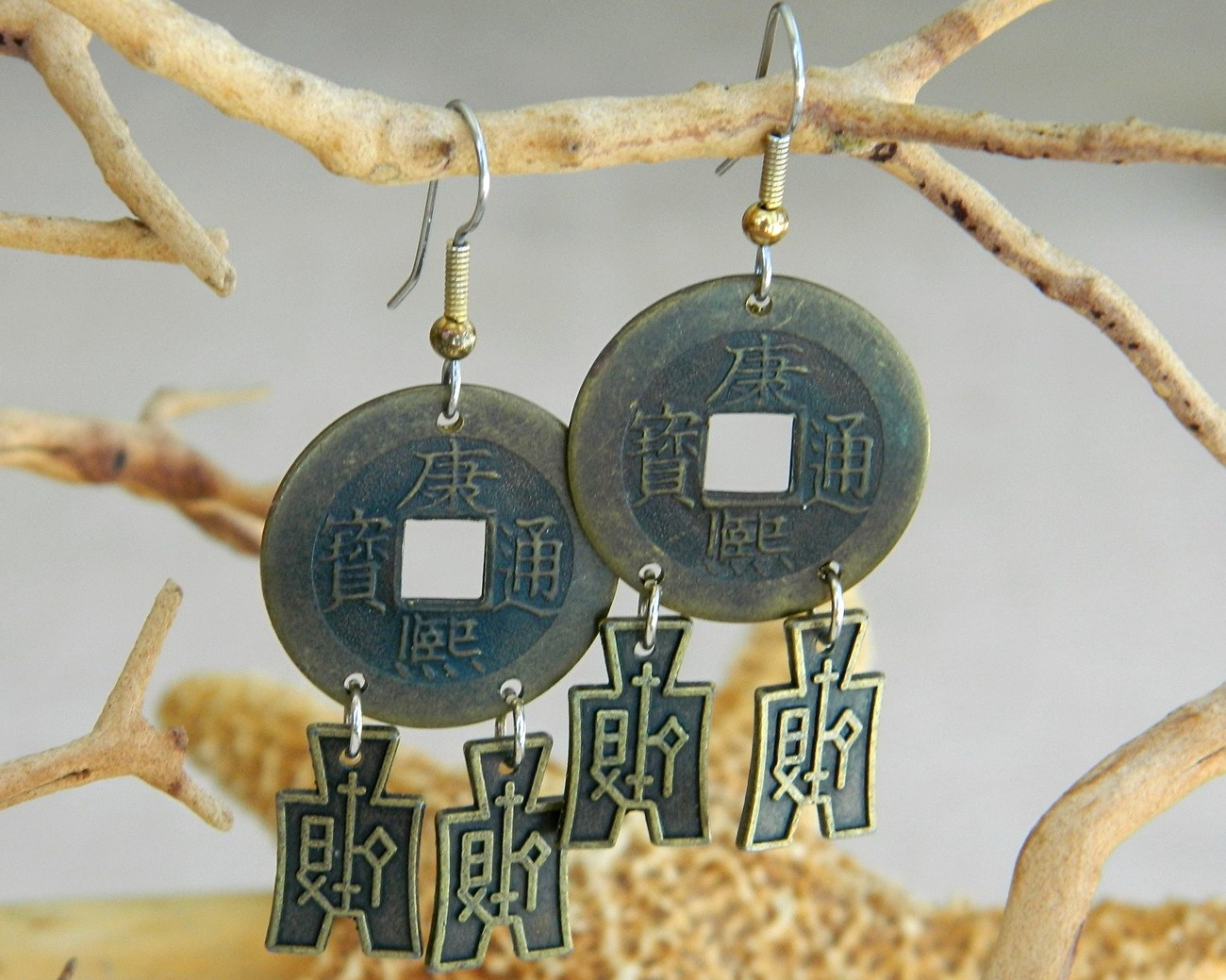 Vintage Chinese Coin Earrings Money Oriental Asian Pierced