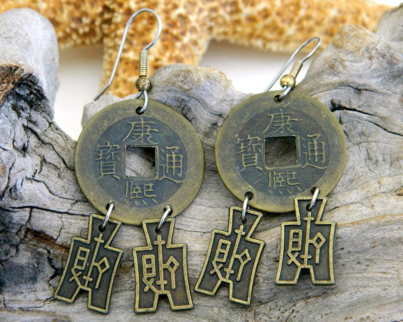 Chinese coin earrings vintage oriental asian money pierced