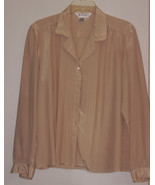 MESSAGES  ( 14 ) BLOUSE - 100 % POLYESTER - TAN - LONG SLEEVES - $5.99