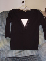 CAROLYN  TAYLOR  - BLOUSE - LARGE - 100% COTTON - BLACK - EMBROIDED NECK... - $6.99