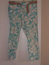 WILLI  SMITH  PANTS - SIZE (10) WHITE/LIGHT BLUE FLOWER- 97% COTTON / 3%... - $7.99