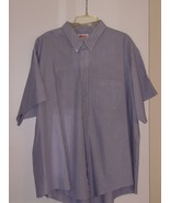 ELBECO  SHIRT - SIZE 20 - 100%  COTTON - LIGHT BLUE STRIPES - SHORT SLEEVES - $5.99