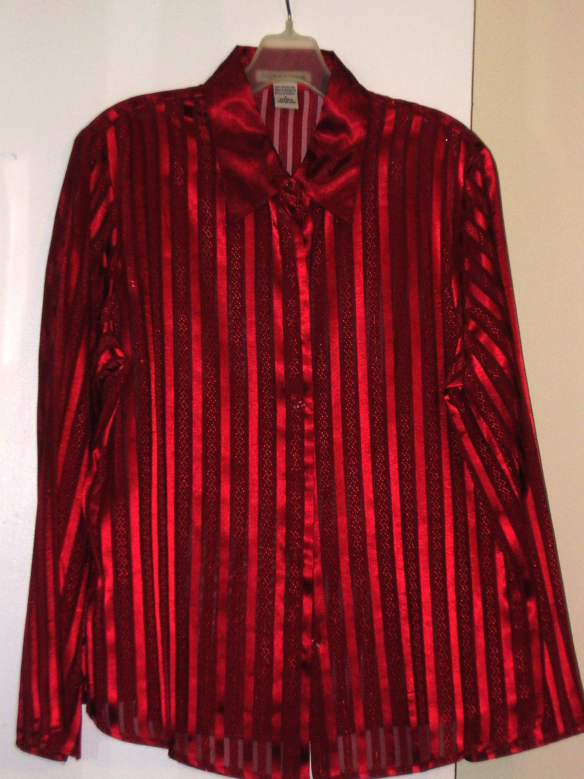 Notations Blouse L Red Long Sleeve Striped And 50 Similar Items