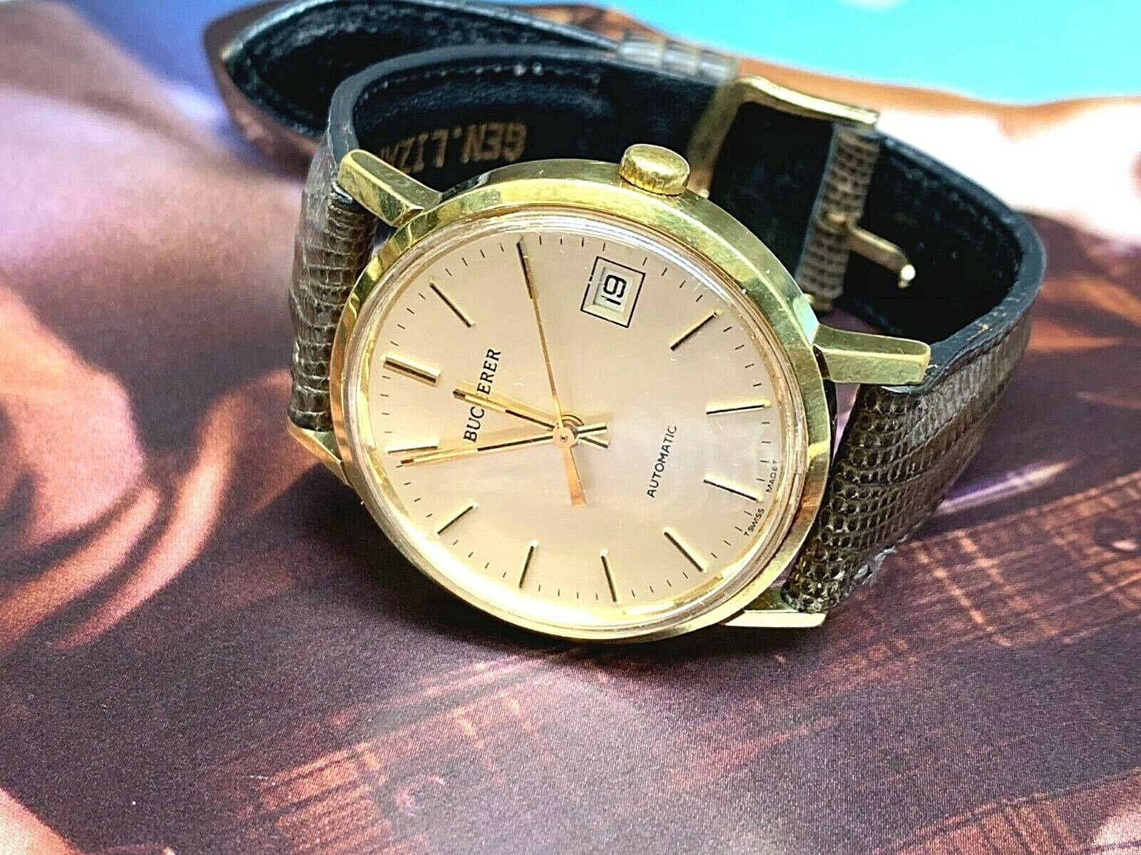 BUCHERER SWISS AUTOMATIC 25 JEWEL DATE COMPLETE SERVICED NICE WATCH