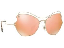 Miu Miu Scenique MU 56RS ZVN6S0 Pale Gold Sunglasses Rose Gold Mirror Lens - $193.03