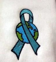 Ovarian Cancer Teal Ribbon World White Hoodie Sweatshirt Medium Unisex New - $31.01