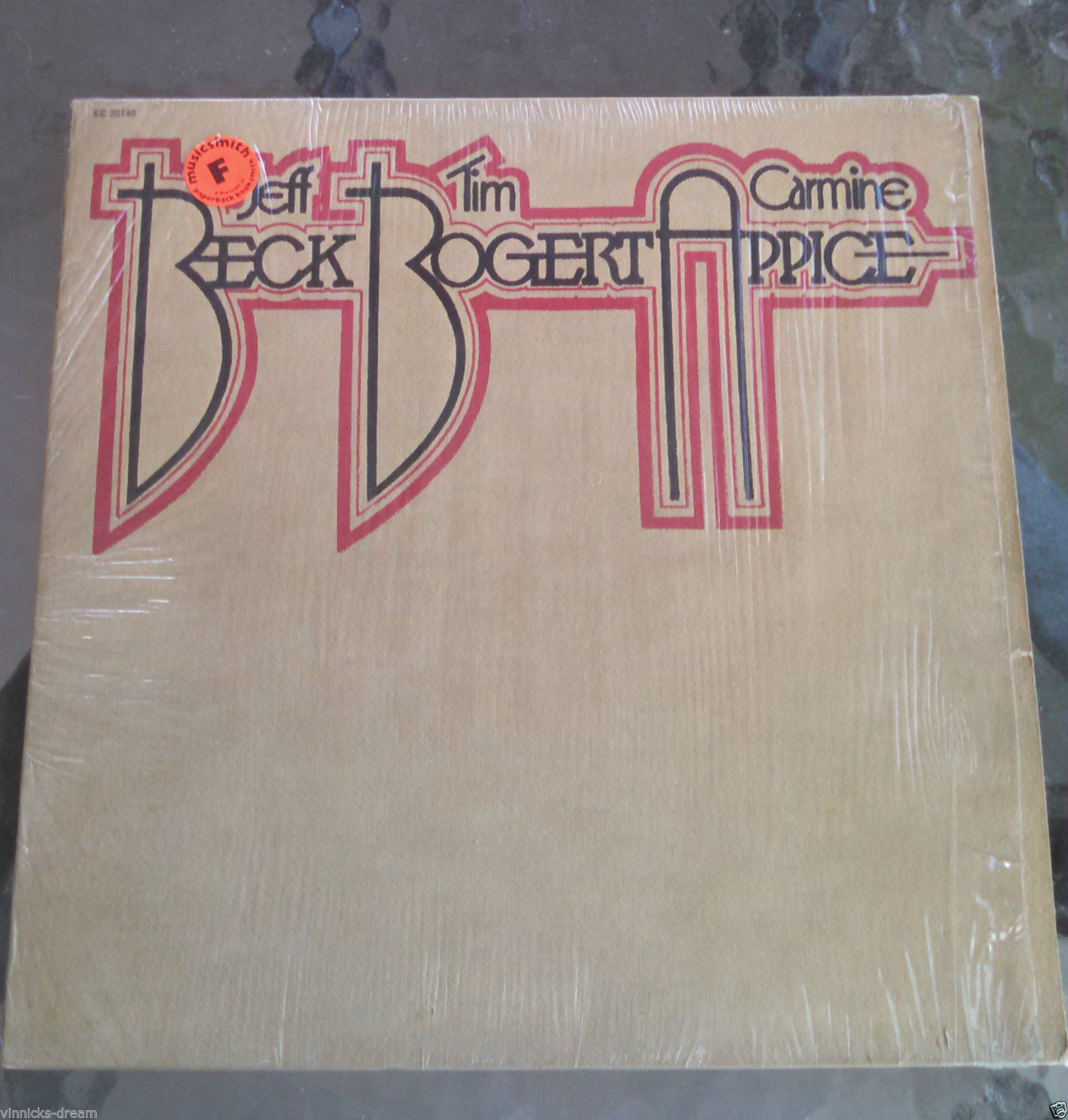 Rare 1973 Jeff Beck Tim Bogert Carmine Appice LP Record VG Shrink Black Cat Moan
