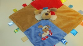 Taggies puppy dog red shoes sneakers security Blanket blue tan baby lovey - $9.89