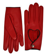Altezzoso Venus Red Leather Heart Bow Romantic Driving Gloves for Women - $44.99