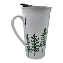 Starbucks Ceramic Lidded Travel Mug Tumbler Winter Pine Trees 2015 - $21.78