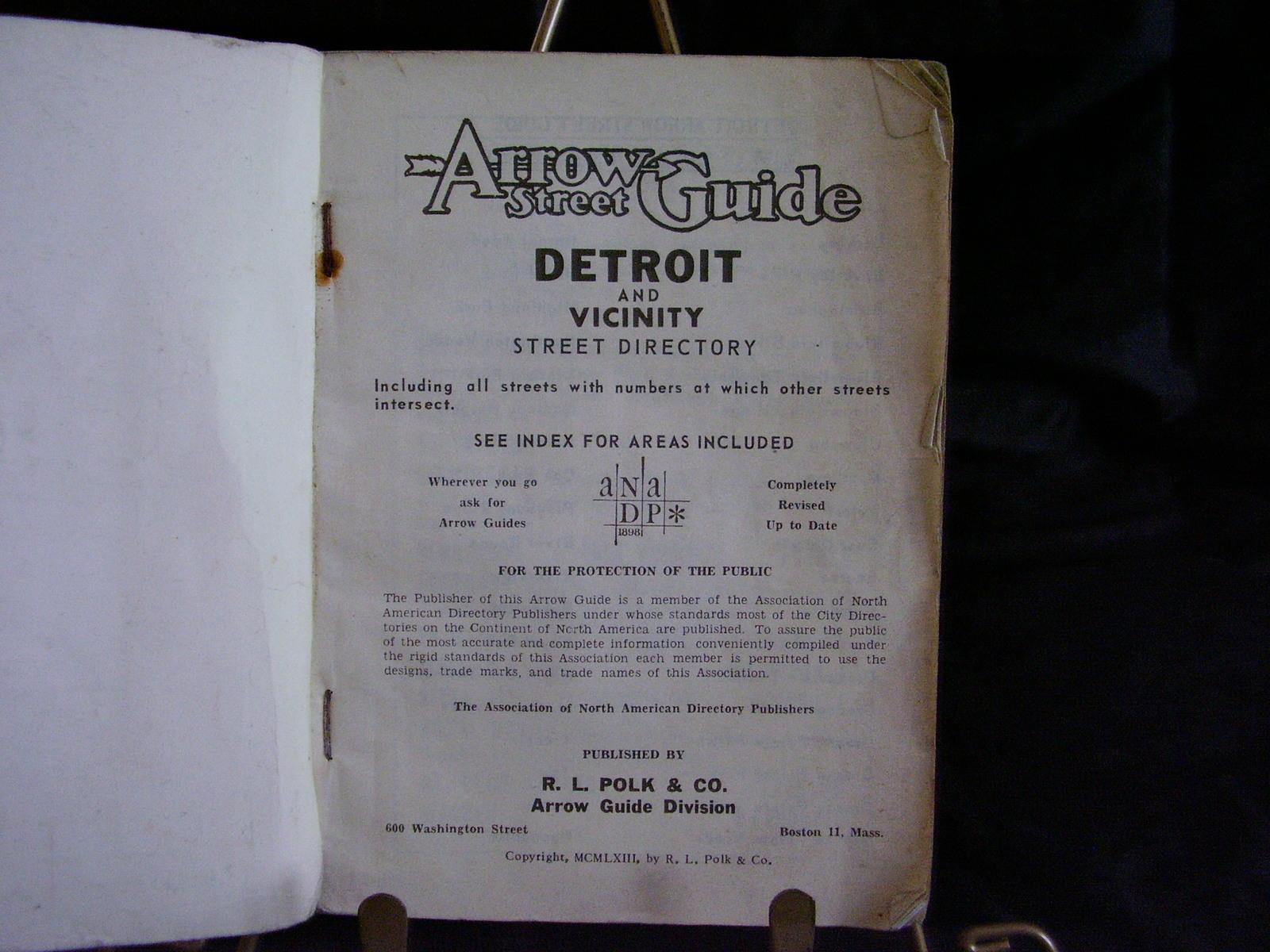 1963 Arrow Detroit Street Guide