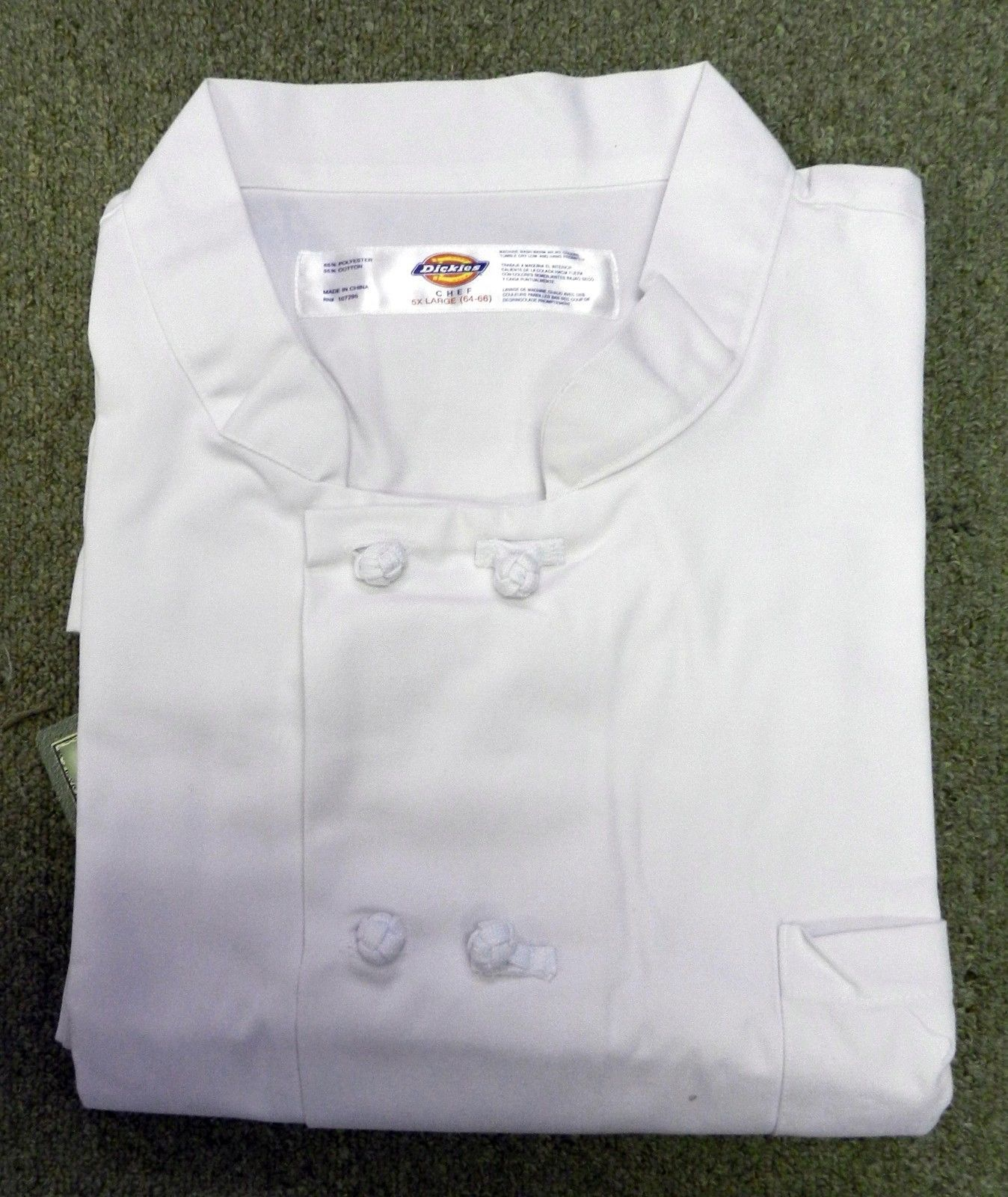 Dickies Restaurant Cloth Knot Button White Uniform Chef Coat Jacket 5XL New