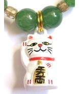 Good Luck Bracelet with Maneki Neko Lucky Kitty Charm and Aventurine - $20.00