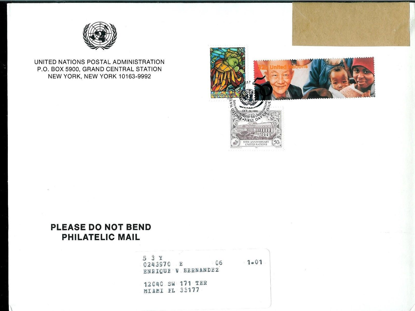 UNITED  NATIONS  * 50th ANNIVERSARY OF U. N.*  FIRST DAY COVER - LARGE CARDBOARD
