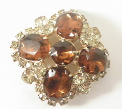 unsigned domed maltese cross oval cut Colorado topaz jonquil RS brooch 4150 - $28.00