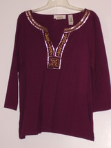 FIRST ISSUE  *BLOUSE*  SIZE X L - RED, GOLD SILVER NECK DECORATION - 100... - $5.99