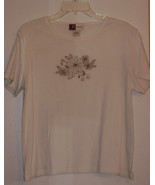 J M COLLECTIONS  *T-SHIRT*  SIZE XL - WHITE, FLOWER EMBROIDED - SHORT SL... - $5.99