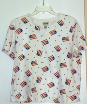 CLASSIC ELEMENTS  *T-SHIRT*  SIZE LARGE - WHITE, AMERICAN FLAGS- SHORT S... - $5.99