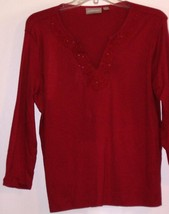 CROFT & BARROW  *BLOUSE* L - RED, EMBROIDED NECK - LONG SLEEVES - 100% C... - $6.99