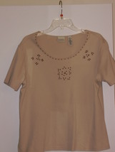 CLASSIC ELEMENTS  *T-SHIRT*  14/16 - TAN, FLOWERS EMBROIDED - 100% COTTON - - $5.99