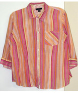 STYLE & CO  *BLOUSE* 16 W - MULTI-COLOR STRIPES - LONG SLEEVES - 100% CO... - $6.99