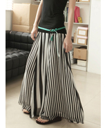Chic Monochrome Chiffon Black And White Stripes Long Skirt Weekend Skirt - $48.90