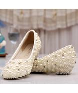 White/Ivory Pearls Wedding wedges,Bridal wedges,Summer wedding,custom color - $98.00