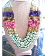 MULTISTRAND NECKLACE  ETHNIC, TRIBAL, SOUTHWESTERN LOOK PINK, MINT GREEN... - $24.05