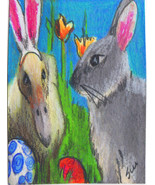 original ACEO drawing colorful easter bunniy and bunny duck - $24.99