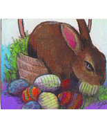original ACEO drawing colorful easter bunny basket decorated eggs - $24.99