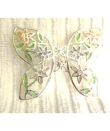 Pastel Enamel Flowers on Silver Tone Butterfly AB Rhinestone Accents Pin... - $2.00