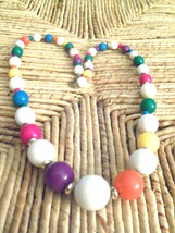 Vintage Chunky Bright Colors Plastic Graduated Beads Necklace - $3.00