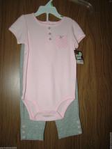 Carter's Baby Girl Short Sleeves 2-Piece Bodysuit Set, Sz.12 Months. NWT - $14.84