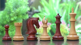 "Caballus Triple Weighted Chess Pieces in Bud Rose & Box Wood - 4.5"" King - M0067 - $385.99"
